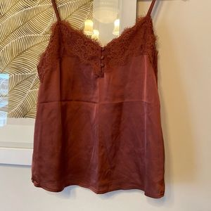 Burnt orange silk lace cami